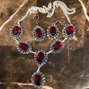 Jewelry - Garnet Necklace & Earring Set